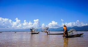 Inle湖,缅甸风景  免版税图库摄影