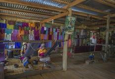 Inle湖,缅甸, 2014 11月10日,有金黄圆环的女孩在脖子 免版税库存图片