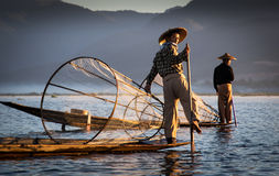 Inle fishermen stock images