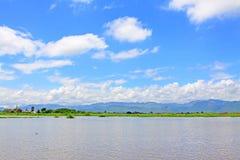 Inle jeziora krajobraz, Myanmar Zdjęcia Royalty Free