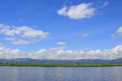 Inle jeziora krajobraz, Myanmar Fotografia Royalty Free
