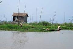 Inle jeziora sceneria Zdjęcie Stock