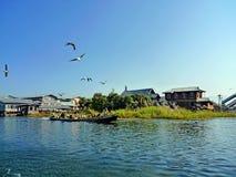 Inle jezioro z niebieskim niebem w ranku Obraz Royalty Free