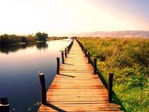Inle jezioro z zmierzchem w popołudniu Fotografia Royalty Free