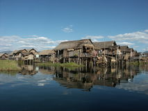 Inle lake. Houses on Inle lake in Burma Royalty Free Stock Images