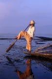 Inle Lake, Myanmar, leg rower fisherman. Burma, Intha Fisherman Leg Rowing on Inle Lake in the Shan State Stock Photos