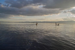 Inle lake. Fishermen at dawn of Inle lake, Myanmar (Burma Stock Photos