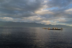 Inle lake. Fishermen at dawn of Inle lake, Myanmar (Burma Royalty Free Stock Photos