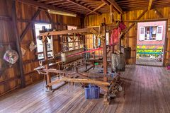 Inle Lake loom. Loom - Traditional craft production of silk fabric at Inle lake, Myanmar stock image