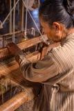 Inle lake lotus weaving, Myanmar Royalty Free Stock Images