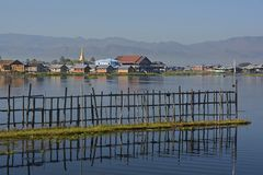 Inle Lake in the Morning Sunshine royalty free stock photography