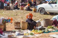 Inle Lake, Woman at the Ywama village market stock photo