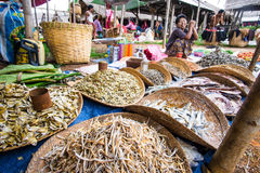 Inle lake, Myanmar - 5 July 2015: Woman sells fish on local Asia Royalty Free Stock Photography