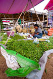 Inle lake, Myanmar - 5 July 2015: Woman sells vegetables on local market Royalty Free Stock Photo