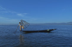 Inle Lake, Myanmar, November 14, 2014 - Fishermen. Fishermen at dawn of Inle lake, Myanmar (Burma Stock Images