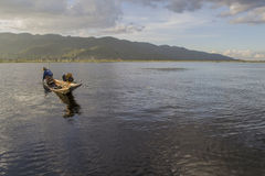 Inle lake Myanmar November 10, 2014 - Fishing on the lake,. Local residents, folk craft, Burma Stock Photography