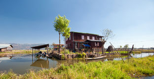 Inle Lake Myanmar, Shan state. Floating gardens Royalty Free Stock Photo