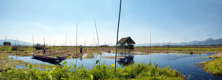 Inle Lake Myanmar, Shan state. Floating gardens Royalty Free Stock Images