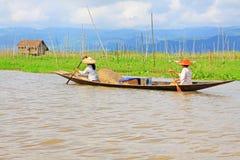 Inle Lake Resident Paddling On The Lake, Myanmar Royalty Free Stock Photos
