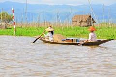 Inle Lake Resident Paddling On The Lake, Myanmar Stock Photo