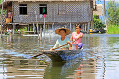 Inle Lake Resident Paddling On The Lake, Myanmar Royalty Free Stock Photo
