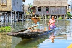 Inle Lake Resident Paddling On The Lake, Myanmar Stock Photos