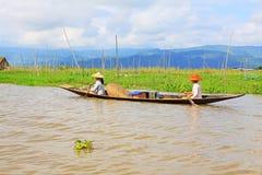 Inle Lake Resident Paddling On The Lake, Myanmar Stock Image