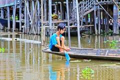 Inle Lake Resident Paddling On The Lake, Myanmar Royalty Free Stock Images