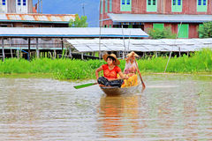 Inle Lake Resident Take The Freshwater With Barrel, Myanmar. Inle Lake Inle Lake Resident Take The Freshwater With Barrel In Myanmar Stock Image