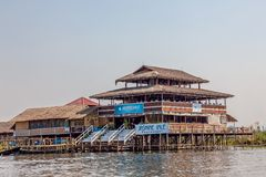 Inle lake restaurant Stock Photography