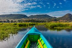 Inle Lake Shan state Myanmar. Landscape view boat of the Inle Lake Shan state in Myanmar Burma stock images