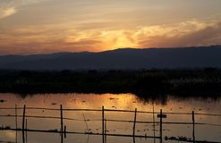 Inle Lake at the sunset Stock Image