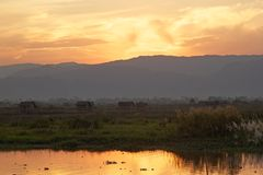 Inle Lake at the sunset Stock Images