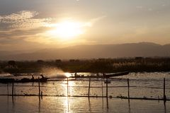 Inle Lake at the sunset Stock Photography