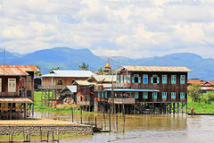 Inle Lake Tall House Village, Myanmar. Inle Lake is a freshwater lake located in the Nyaungshwe Township of Taunggyi District of Shan State It is the second Stock Images
