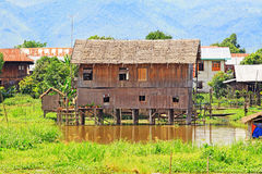 Inle Lake Tall House Village, Myanmar. Inle Lake is a freshwater lake located in the Nyaungshwe Township of Taunggyi District of Shan State It is the second Royalty Free Stock Images