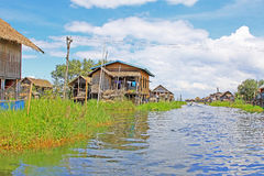 Inle Lake Tall House Village, Myanmar. Inle Lake is a freshwater lake located in the Nyaungshwe Township of Taunggyi District of Shan State It is the second Royalty Free Stock Image