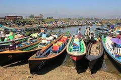 Inle sjö i Myanmar Fotografering för Bildbyråer