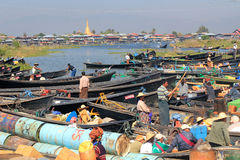 Inle sjö i Myanmar Arkivbild