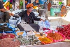 INLE-SJÖ, MYANMAR - December 01, 2014: en oidentifierad kvinna in Royaltyfri Bild