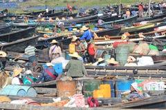 Inlemeer in Myanmar Stock Foto's
