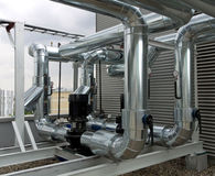 Inline centrifugal pumps with pipework. Outdoor inline centrifugal pump station with pipework Royalty Free Stock Photos