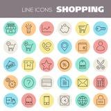 Inline-Einkaufsikonen-Sammlung Lizenzfreie Stockfotos