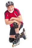 Inline-Eislauf des älteren Mannes Lizenzfreie Stockfotos