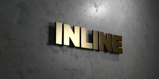 Inline - Gold sign mounted on glossy marble wall  - 3D rendered royalty free stock illustration Royalty Free Stock Photo