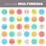 Inline Multimedia Icons Collection. Trendy line icons - Multimedia icons collection on colored round buttons royalty free illustration