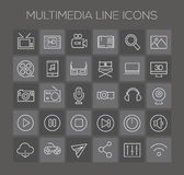 Inline Multimedia Icons Collection. Trendy line icons - Multimedia icons on dark royalty free illustration