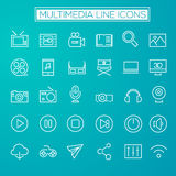 Inline Multimedia Icons Collection. Trendy line icons - Multimedia icons on dark vector illustration