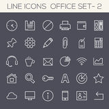 Inline Office Icons Collection Royalty Free Stock Photography