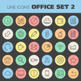 Inline Office Icons Collection Royalty Free Stock Image
